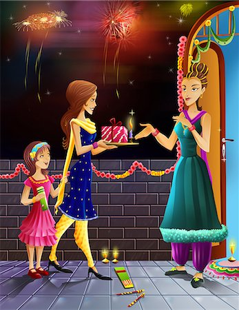 firework illustration - Women giving gift to her neighbour in the occasion of diwali Stock Photo - Premium Royalty-Free, Code: 630-03481408