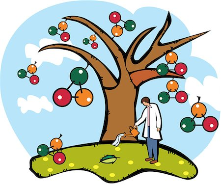 Scientist watering an atomic structure tree Stock Photo - Premium Royalty-Free, Code: 630-03481442