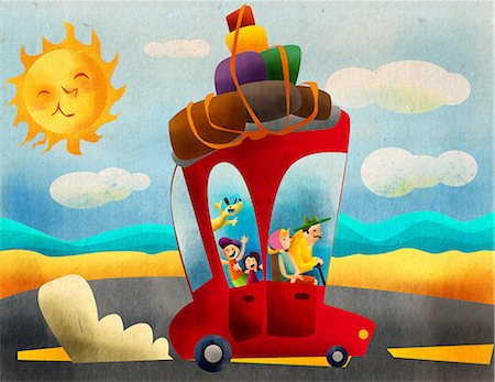 Family on vacations by a car Stock Photo - Premium Royalty-Free, Code: 630-03481465