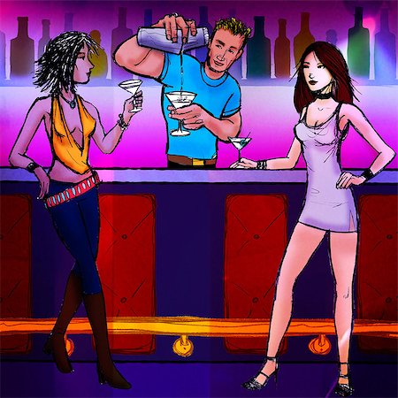 Bartender serving cocktail to two women in a nightclub Stock Photo - Premium Royalty-Free, Code: 630-03481471