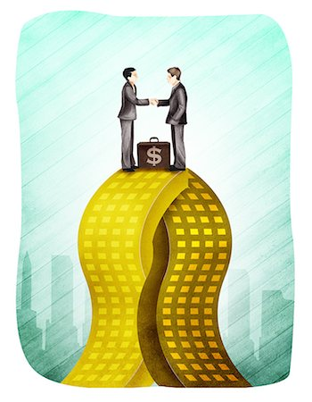 Two businessmen merging company Stock Photo - Premium Royalty-Free, Code: 630-03481519