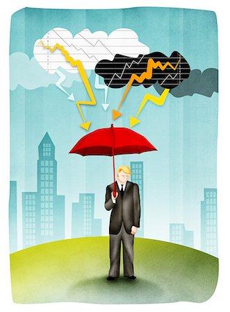 storm lightning - Man holding umbrella in storm Stock Photo - Premium Royalty-Free, Code: 630-03481524