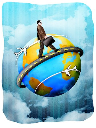 Businessman walking around a globe with a briefcase Stock Photo - Premium Royalty-Free, Code: 630-03481533