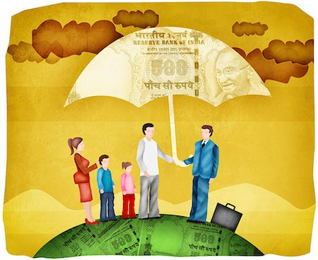 dependable - Illustration of Family with Sales Representative Standing Under Umbrella Stock Photo - Premium Royalty-Free, Code: 630-03481794