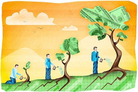 Businessman watering a money tree Stock Photo - Premium Royalty-Free, Code: 630-03481795