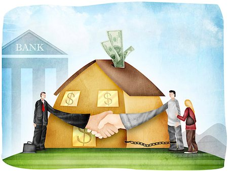 Handshake after a home loan agreement Stock Photo - Premium Royalty-Free, Code: 630-03481806