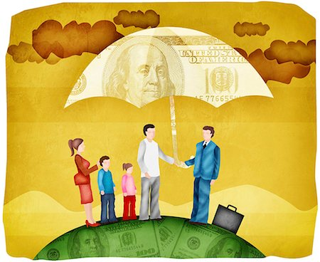 dependable - Illustration of Family with Sales Representative Standing Under Umbrella Stock Photo - Premium Royalty-Free, Code: 630-03481802