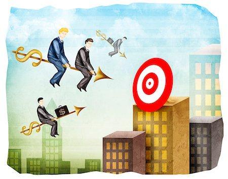 Sales executives reaching towards a target on arrows Stock Photo - Premium Royalty-Free, Code: 630-03481811