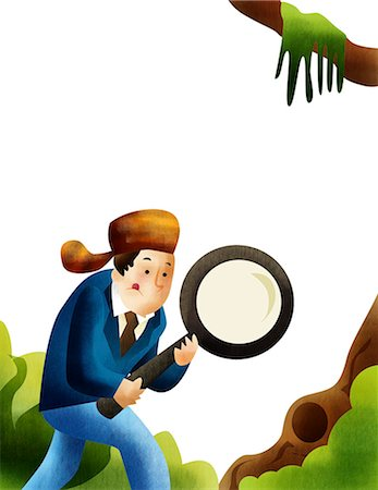 Man on a job hunt with a magnifying glass Stock Photo - Premium Royalty-Free, Code: 630-03481821