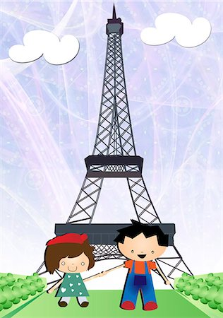 Boy and a girl in a park in front of a tower, Eiffel Tower, Paris, France Stock Photo - Premium Royalty-Free, Code: 630-03481856