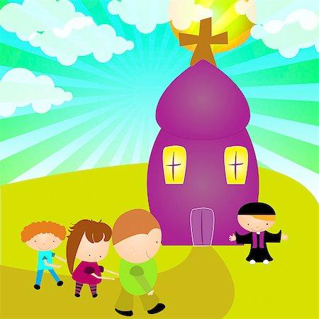 Children going to the church Stock Photo - Premium Royalty-Free, Code: 630-03481860