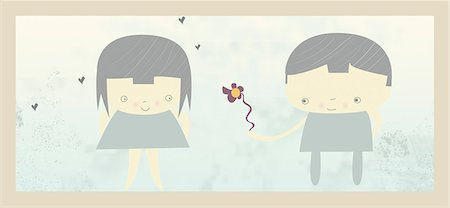 Boy giving a flower to a girl Stock Photo - Premium Royalty-Free, Code: 630-03481879