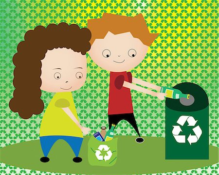 Boy and a girl throwing plastic bottles in recycling bin Stock Photo - Premium Royalty-Free, Code: 630-03481872
