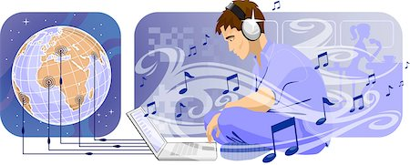 Man downloading music from internet Stock Photo - Premium Royalty-Free, Code: 630-03481905