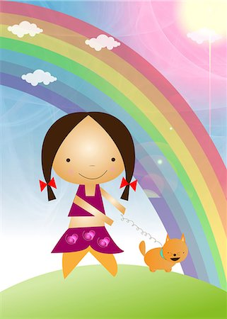 Girl walking with her dog in front of a rainbow, India Stock Photo - Premium Royalty-Free, Code: 630-03481930