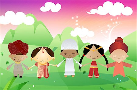 Children of different religions joining hands together, India Stock Photo - Premium Royalty-Free, Code: 630-03481931