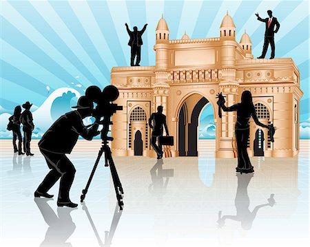 Movie shooting at a monument, Gateway of India, Mumbai, Maharashtra, India Stock Photo - Premium Royalty-Free, Code: 630-03482119