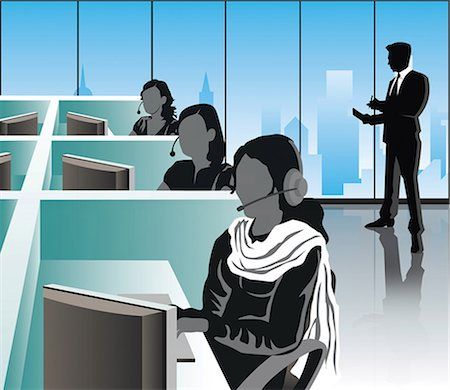 Female customer service representatives in an office, India Stock Photo - Premium Royalty-Free, Code: 630-03482122