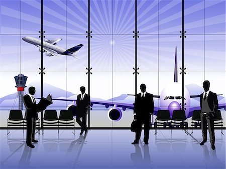 Businessmen waiting at an airport lounge Stock Photo - Premium Royalty-Free, Code: 630-03482123