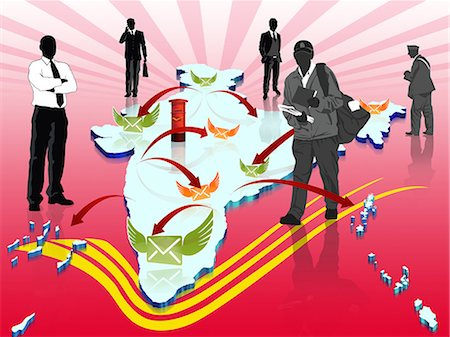 represented - Indian map representing the postal service Stock Photo - Premium Royalty-Free, Code: 630-03482137