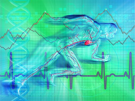 represented - Illustrative representation showing heartbeat graph of a man Stock Photo - Premium Royalty-Free, Code: 630-03482171