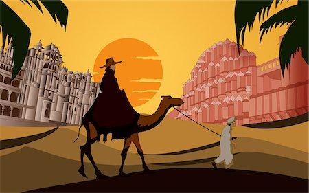rajasthan camel - Tourist riding a camel in front a palace, Hawa Mahal, Jaipur, Rajasthan, India Stock Photo - Premium Royalty-Free, Code: 630-03482199