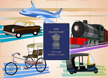 Montage of transportation with a passport, India Stock Photo - Premium Royalty-Free, Code: 630-03482203