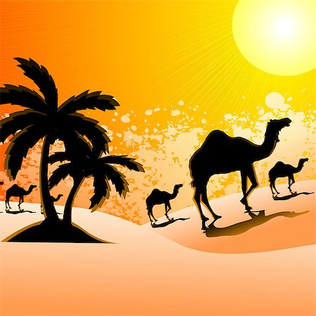 rajasthan camel - Silhouette of camels walking in a desert landscape, Rajasthan, India Stock Photo - Premium Royalty-Free, Code: 630-03482216