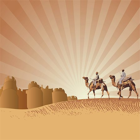 rajasthan camel - Two men riding camels in a desert, Rajasthan, India Stock Photo - Premium Royalty-Free, Code: 630-03482211