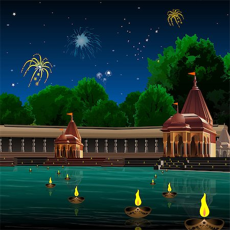 fireworks illustrations - Ghat and temple decorated with oil lamps, Varanasi, Uttar Pradesh, India Stock Photo - Premium Royalty-Free, Code: 630-03482229