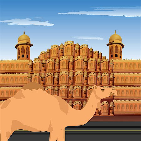 rajasthan camel - Camel standing in front of palace, Hawa Mahal, Jaipur, Rajasthan, India Stock Photo - Premium Royalty-Free, Code: 630-03482235