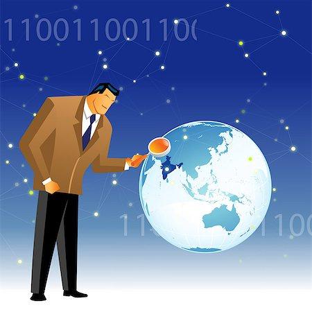 scope - Businessman examining map of India Stock Photo - Premium Royalty-Free, Code: 630-03482246