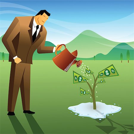 Businessman watering a money plant Stock Photo - Premium Royalty-Free, Code: 630-03482249