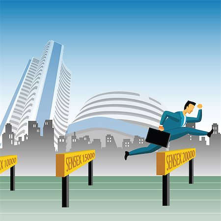 stock exchange building - Businessman jumping over sensex hurdles Stock Photo - Premium Royalty-Free, Code: 630-03482269