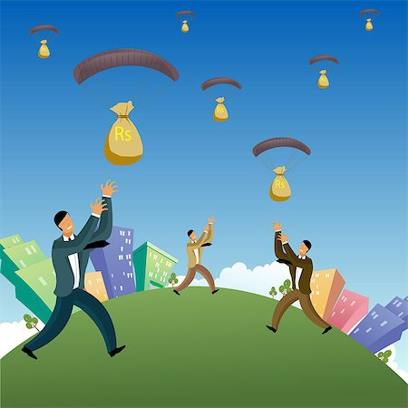Businessmen catching money bags falling from the sky Stock Photo - Premium Royalty-Free, Code: 630-03482260
