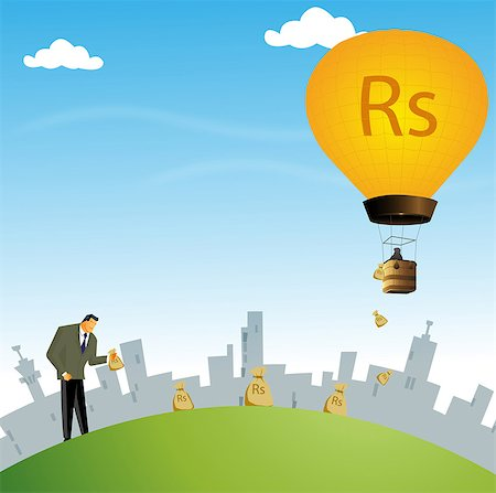 Businessman collecting sacks of rupees Stock Photo - Premium Royalty-Free, Code: 630-03482275