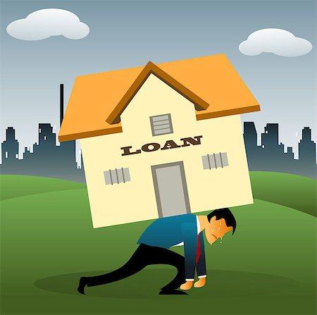 sweaty businessman - Illustrative representation of a man overburdened with housing loan Stock Photo - Premium Royalty-Free, Code: 630-03482277