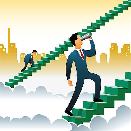 Businessmen climbing up steps over the clouds Stock Photo - Premium Royalty-Free, Code: 630-03482288