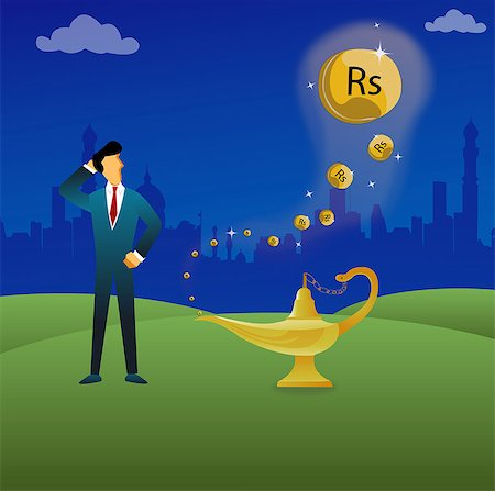 Businessman standing next to a magical lamp Stock Photo - Premium Royalty-Free, Code: 630-03482294