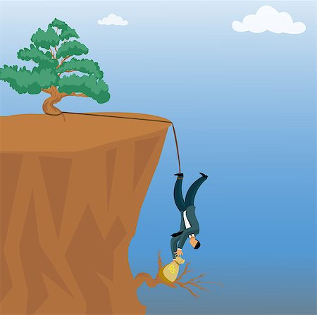 Businessman grabbing a money bag from a cliff Stock Photo - Premium Royalty-Free, Code: 630-03482295
