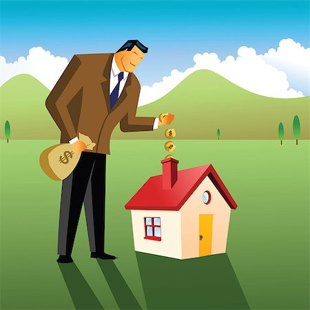Businessman putting money into a model home Stock Photo - Premium Royalty-Free, Code: 630-03482376