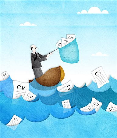 Businessman catching resume from the sea with a fishing net Stock Photo - Premium Royalty-Free, Code: 630-03482386