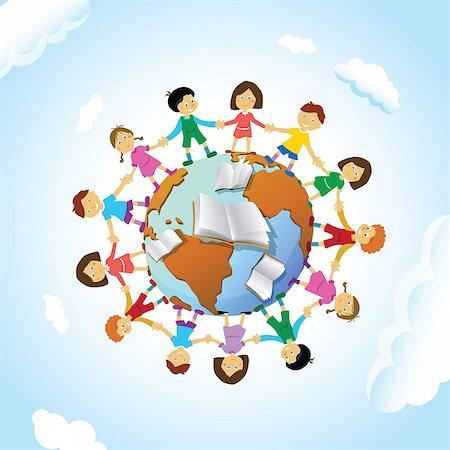 Chain of schoolchildren around the globe Stock Photo - Premium Royalty-Free, Code: 630-03482408