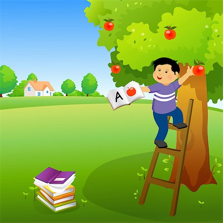 Boy holding a book and climbing an apple tree Stock Photo - Premium Royalty-Free, Code: 630-03482417