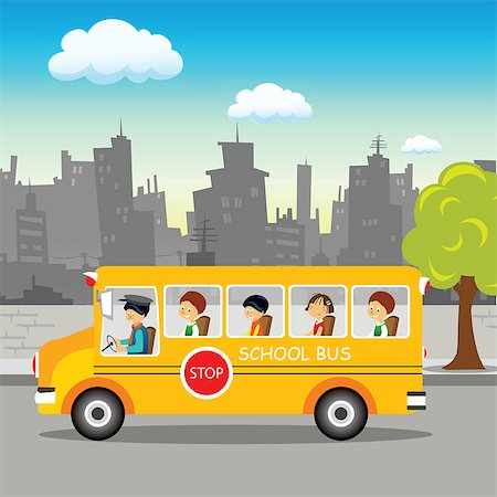 School bus on its way Stock Photo - Premium Royalty-Free, Code: 630-03482422