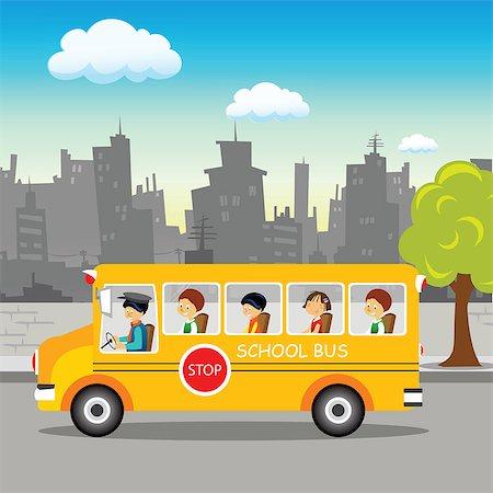 School bus on its way Stock Photo - Premium Royalty-Free, Code: 630-03482422