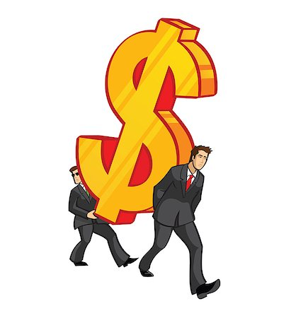 Two businessmen carrying an oversized dollar sign Stock Photo - Premium Royalty-Free, Code: 630-03482448