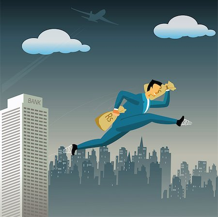 Businessman flying high with money bags Stock Photo - Premium Royalty-Free, Code: 630-03482442