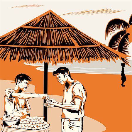 food stalls - Vendor serving Indian snack panipuri to a man on the beach, India Stock Photo - Premium Royalty-Free, Code: 630-03482465