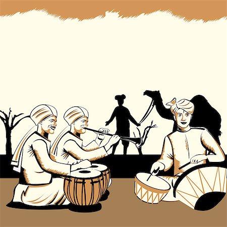 rajasthan camel - Three men playing musical instruments, Rajasthan, India Stock Photo - Premium Royalty-Free, Code: 630-03482468